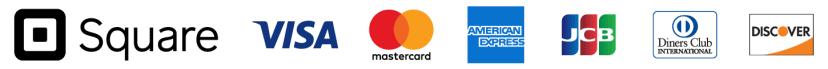 Visa、Master、AmericanExpress、JCB、DinnersClub、Discover